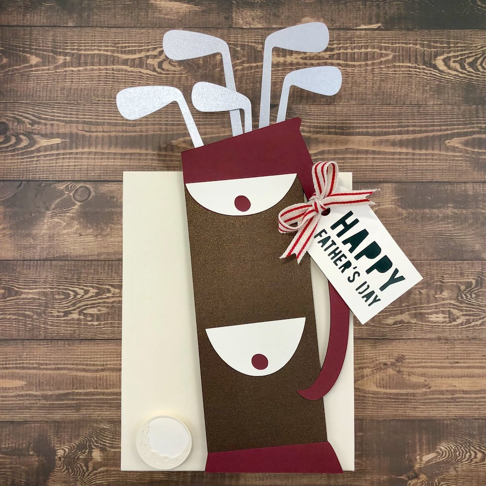 finished paper Father's Day golf bag gift bag