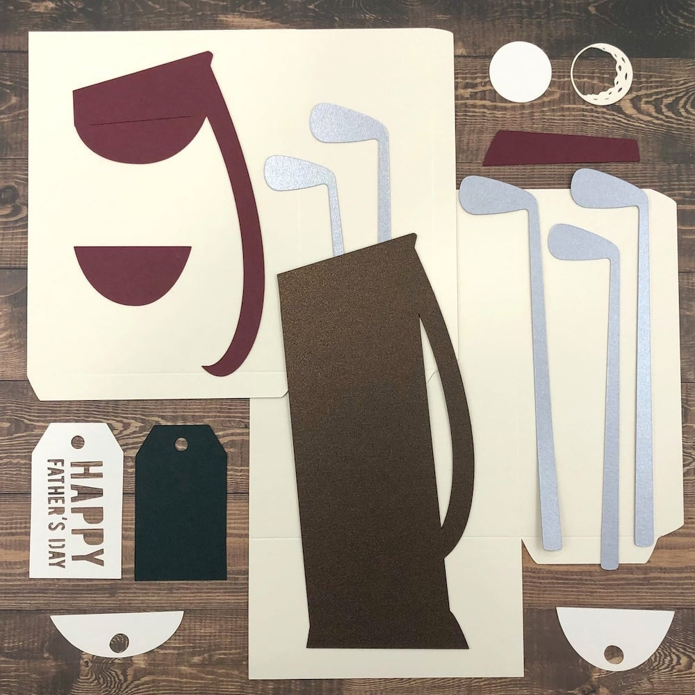 Father's Day Golf Bag die cut pieces