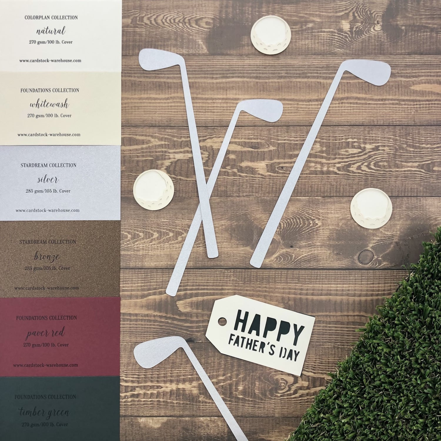 Father's Day Golf Bag paper swatches and die cut pieces