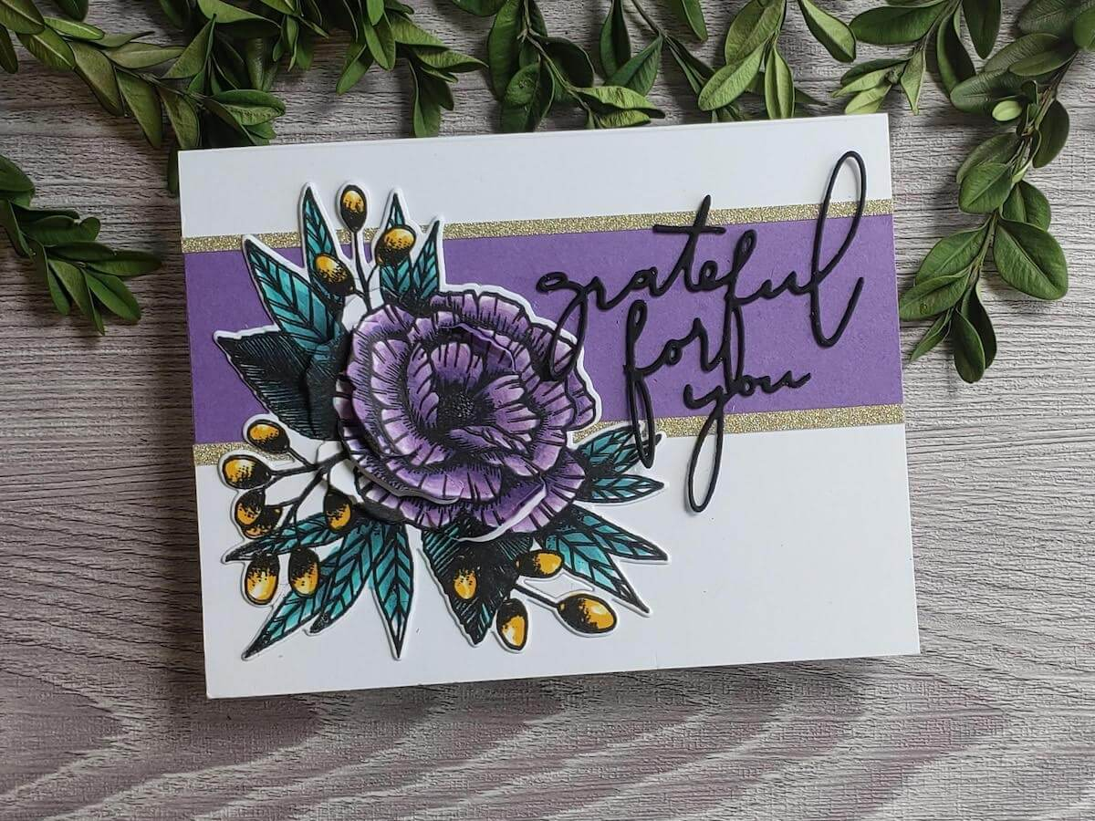 Grateful For You Cardstock Paper Handmade Card