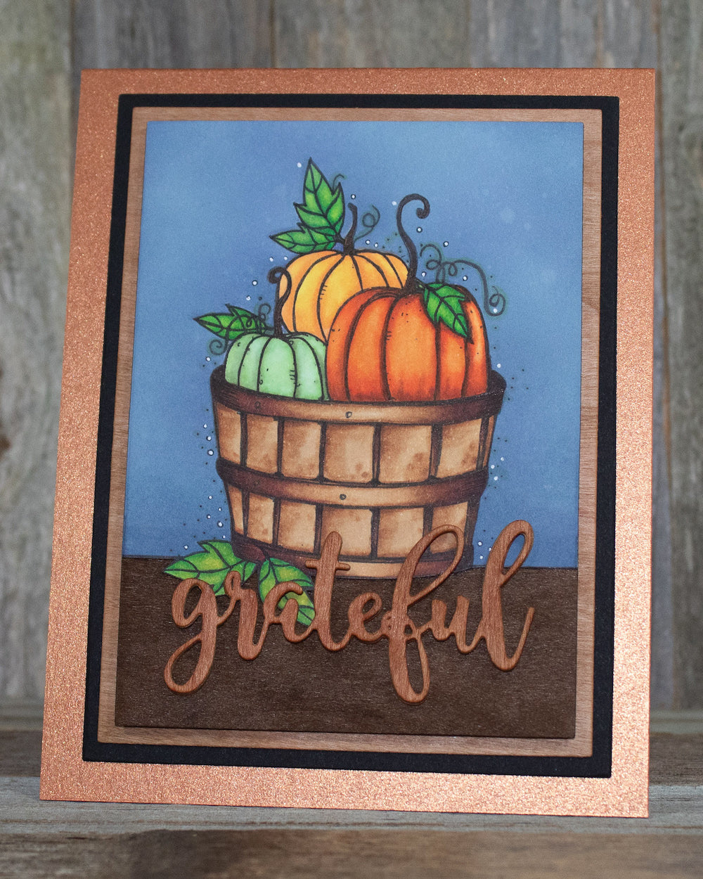 Grateful Pumpkin Cardstock Paper Stamped Greeting Card