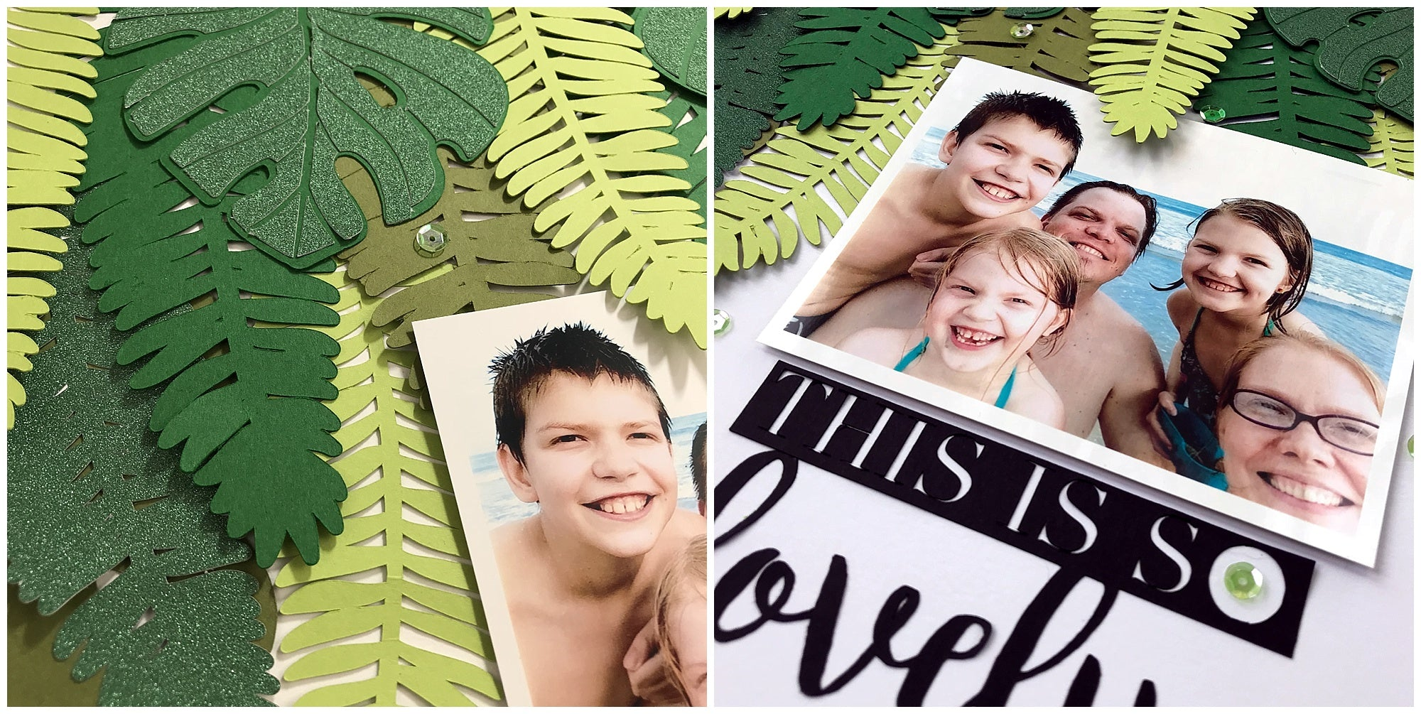 Cardstock Paper Foliage Vacation Scrapbook Layout