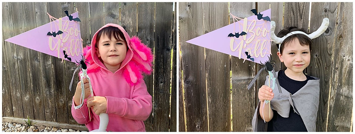 halloween pennants used as a photobooth prop