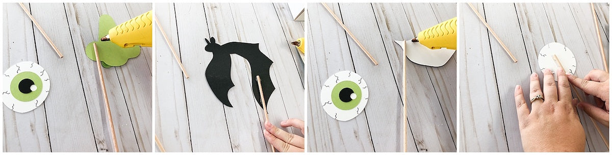 Halloween Cardstock Paper Photobooth Props Gluing Sticks