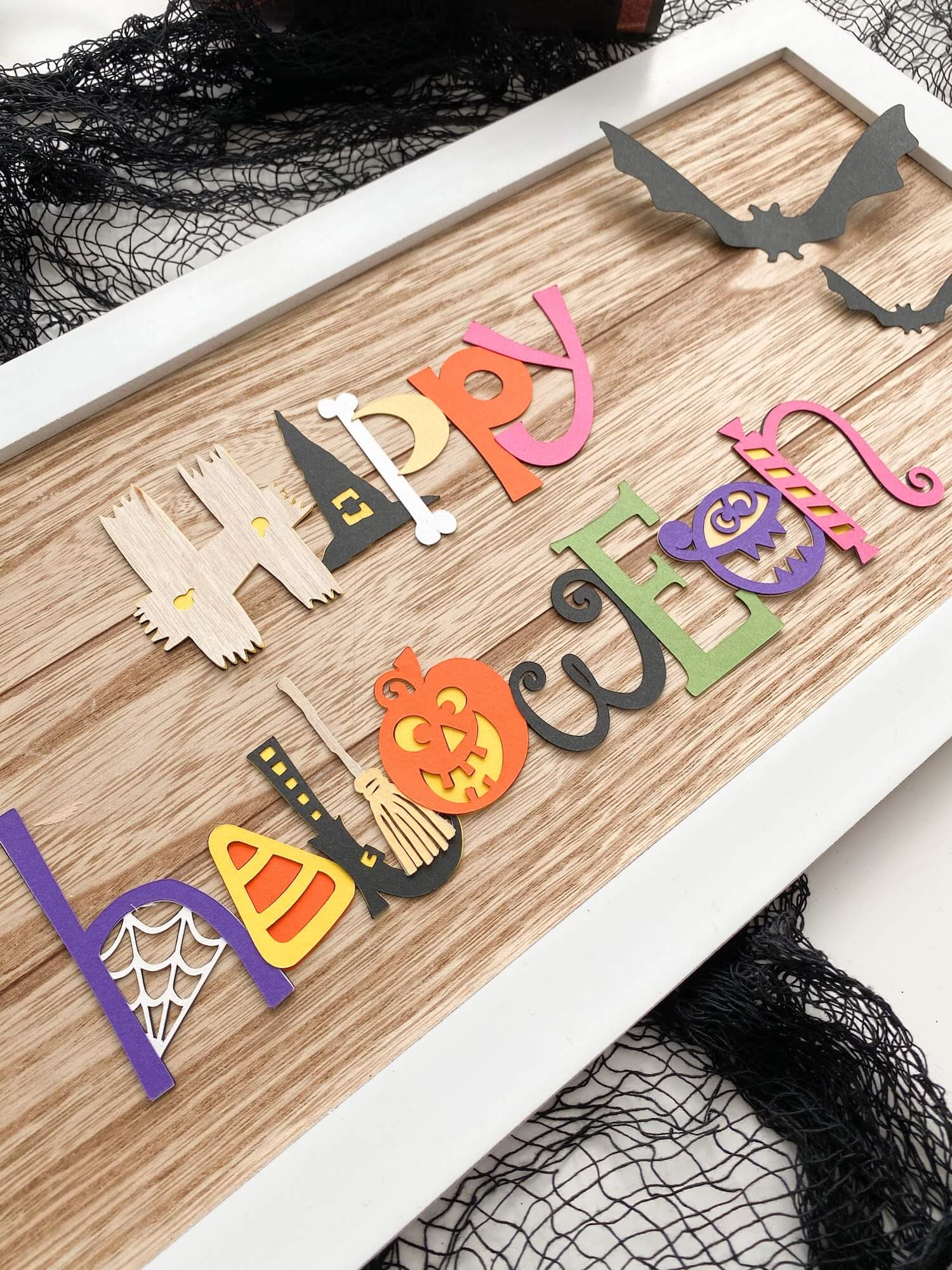DIY Wood and Paper Halloween Sign