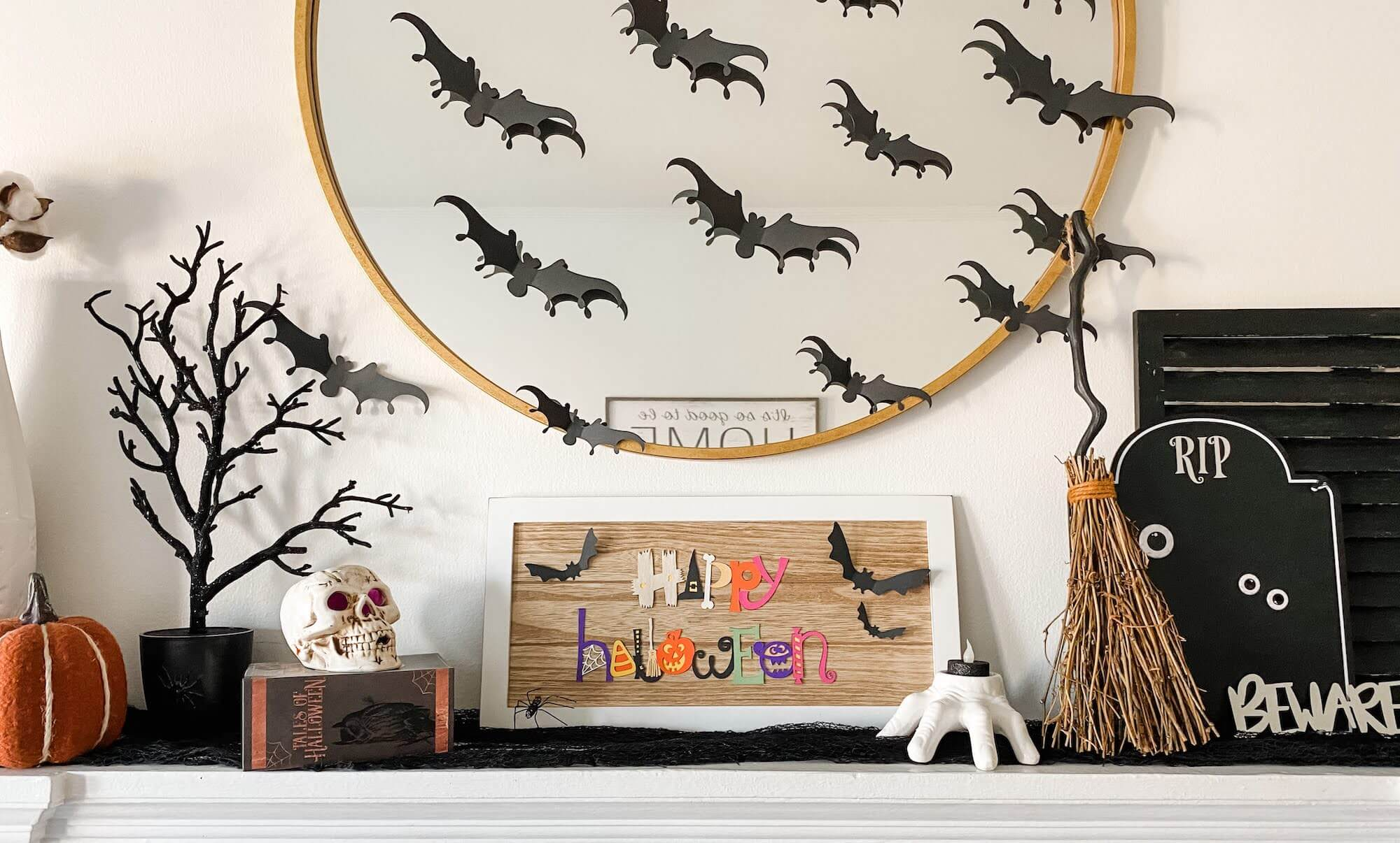 Halloween Sign on Mantel with Paper Bats