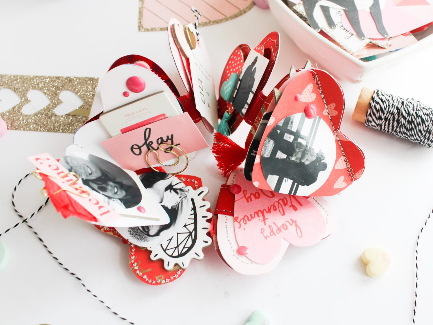 embellished valentines day heart mini album