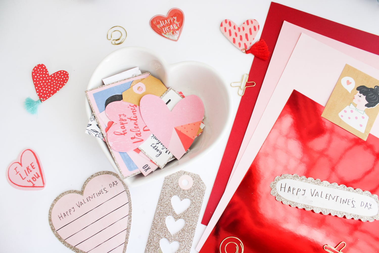 valentine mini heart album supplies