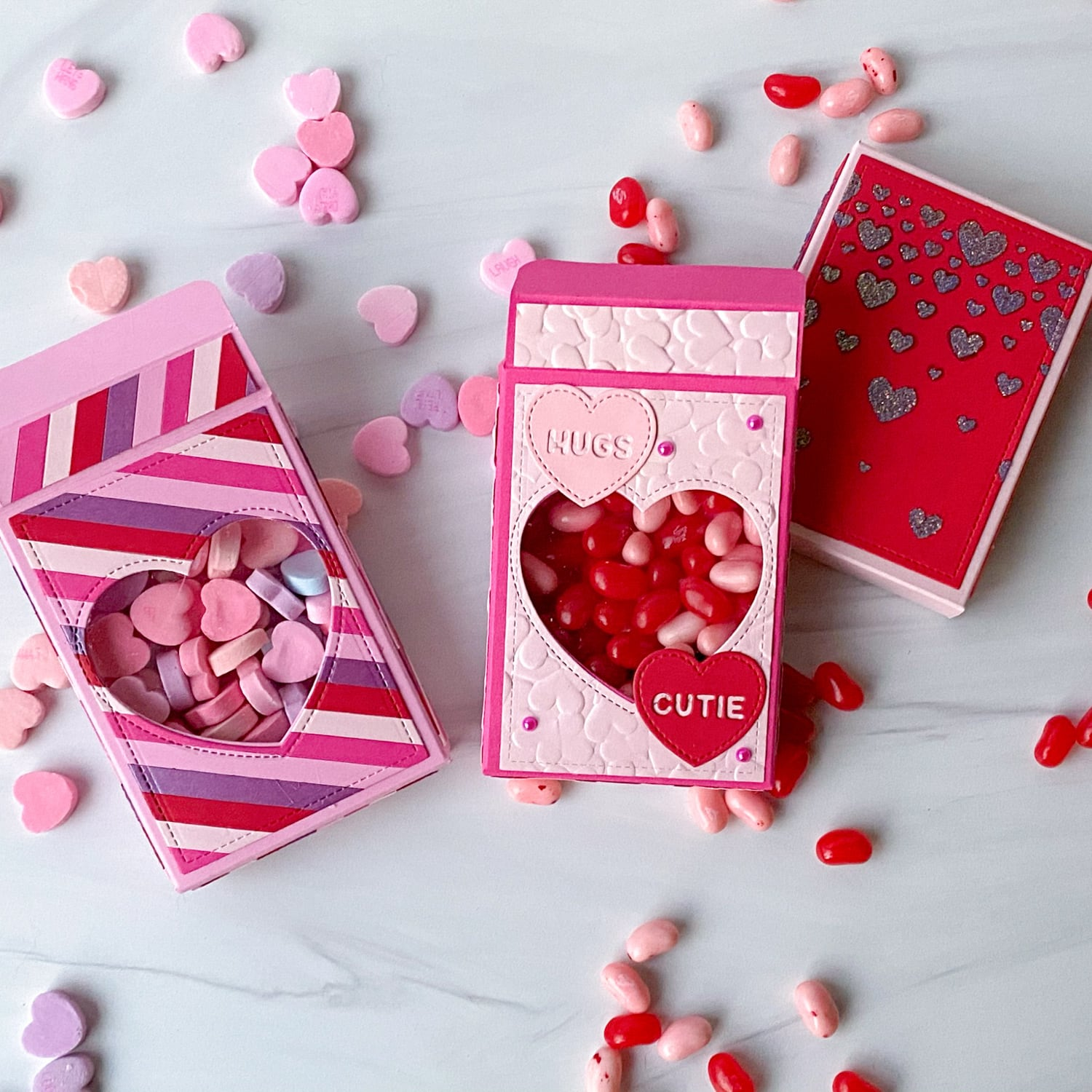 Finished Candy Heart Valentine's Day Boxes