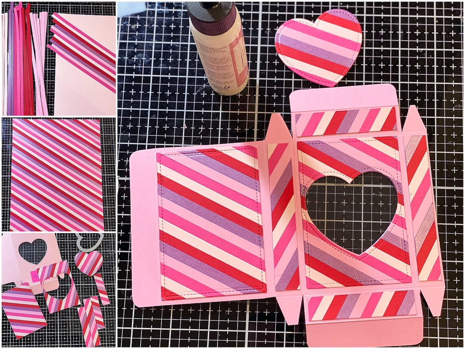 cutting and gluing paper strips for heart candy valentine's day boxes