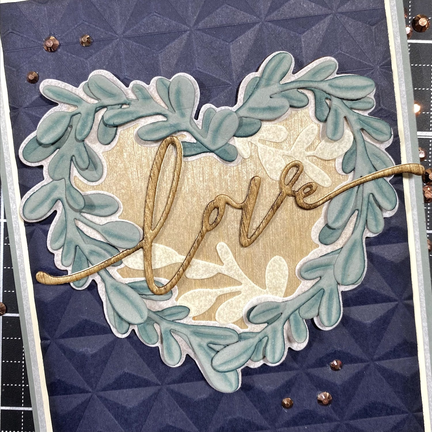 finished heart wreath card