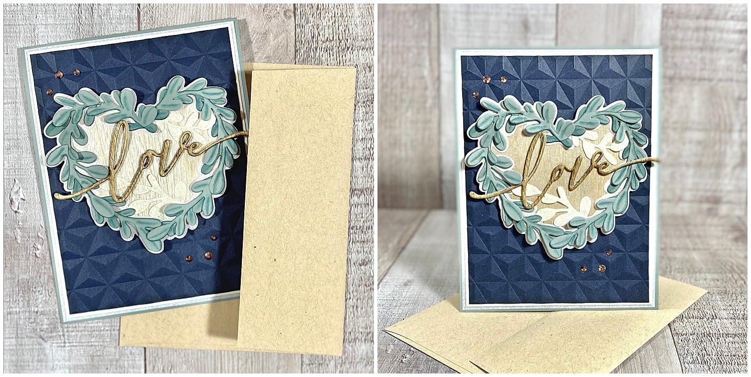 Finished heart wreath card with Oatmeal Speckletone Envelope