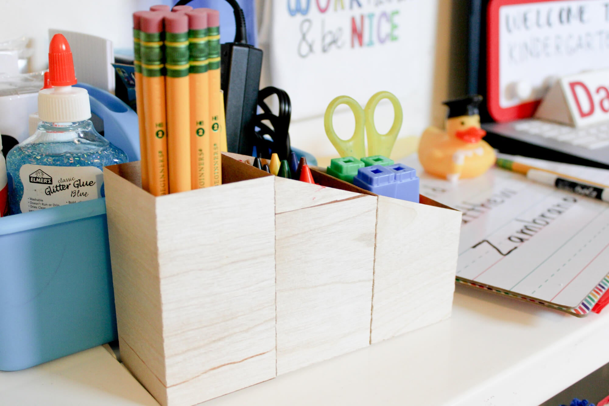 Wood Veneer Paper Pencil Box