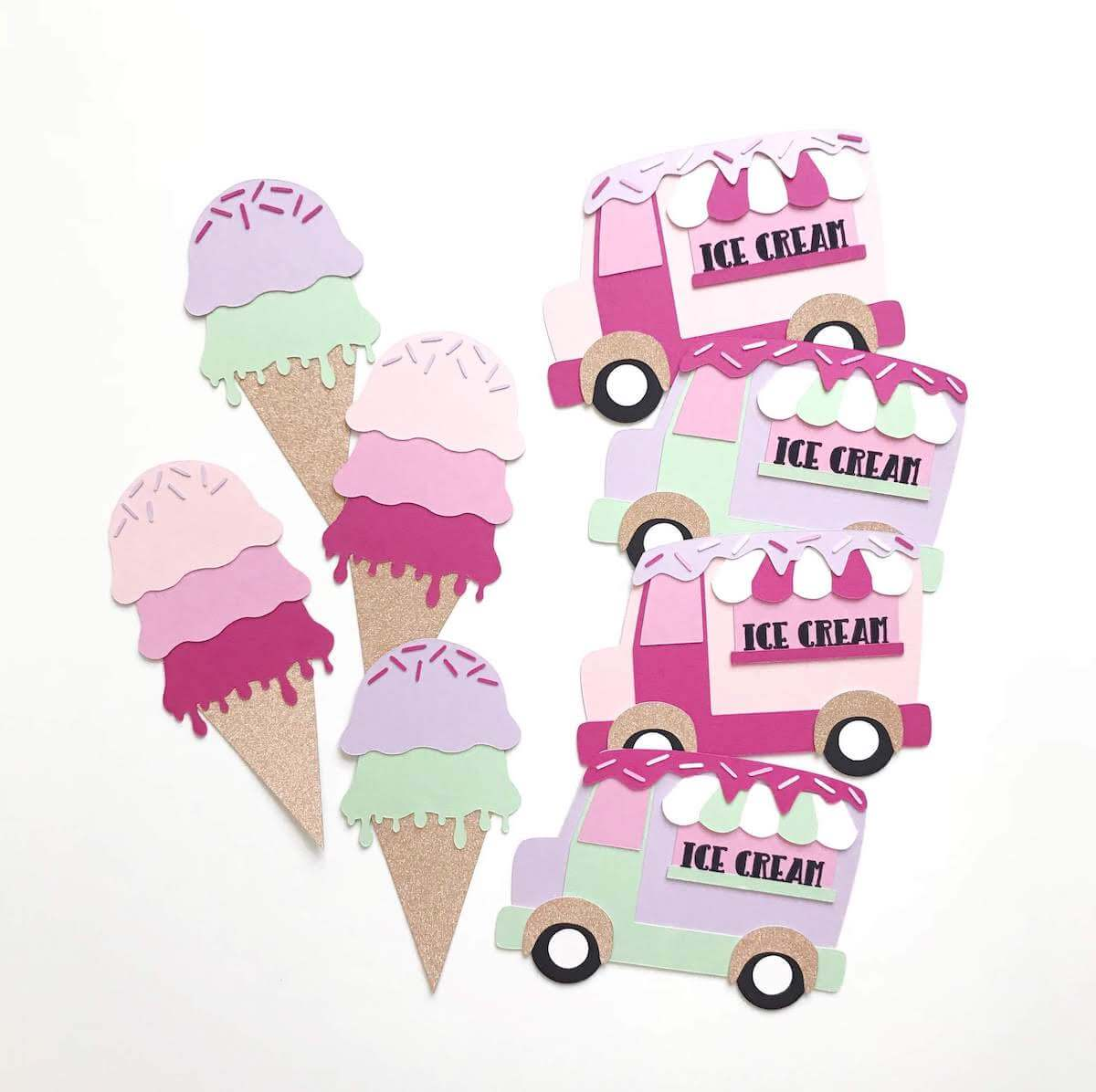 Cardstock Paper Ice Cream Shoppe Banner and Die Cuts