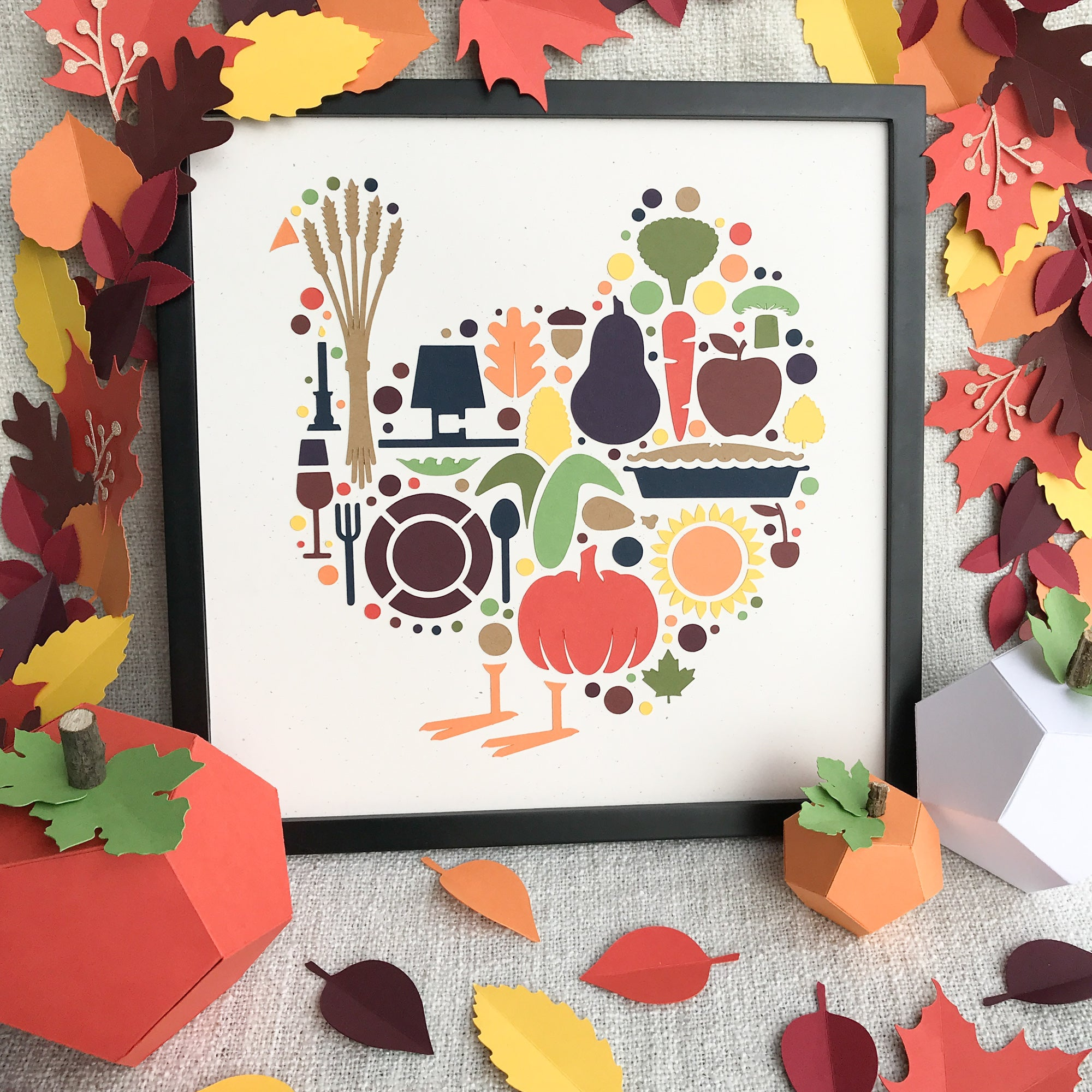 Framed Paper Turkey Art