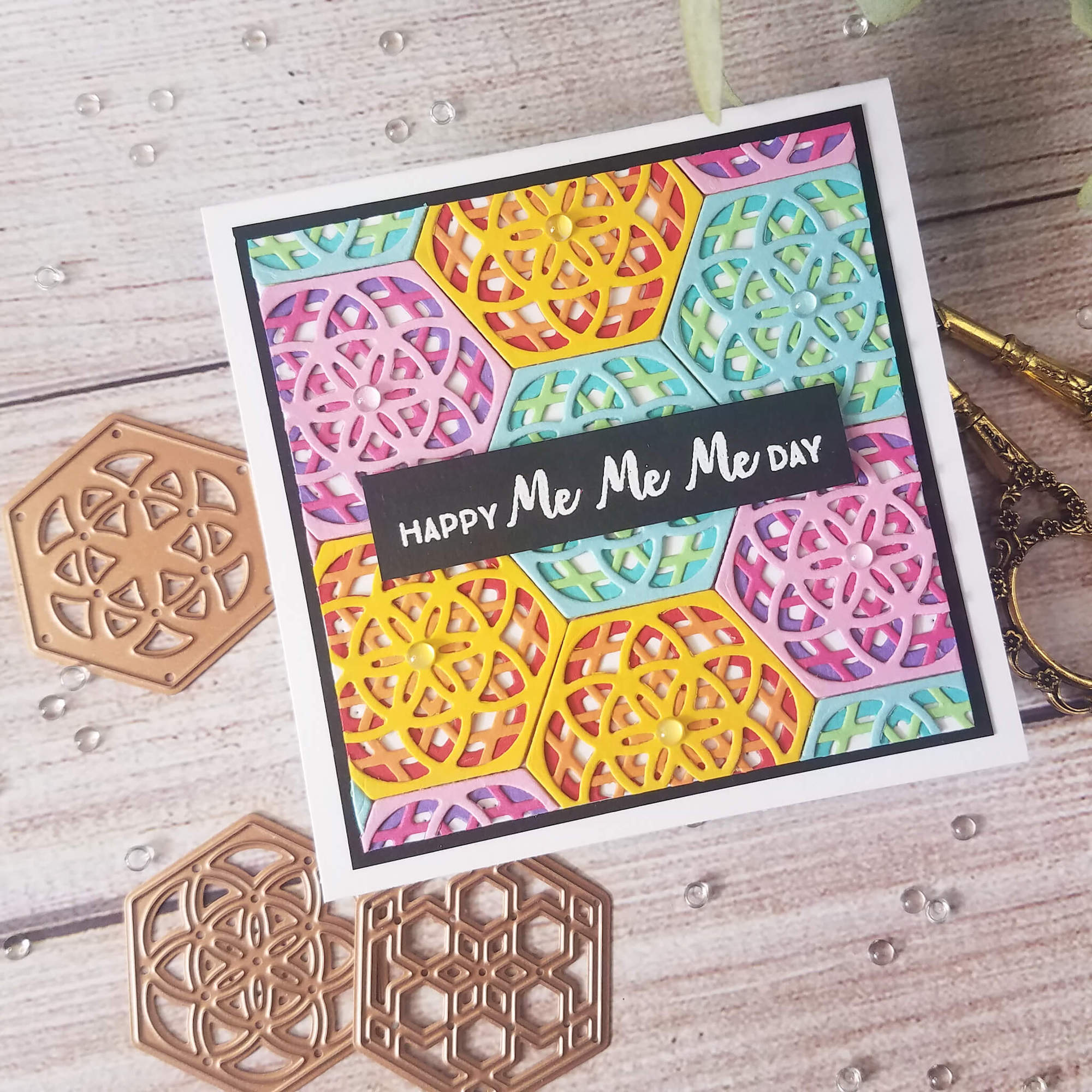 Kaleidoscope Die Cut Birthday Card