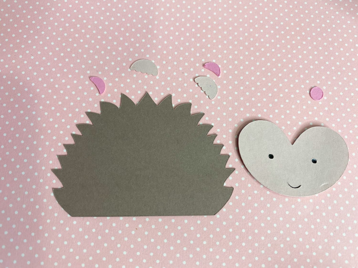 paper hedgehog die cut pieces