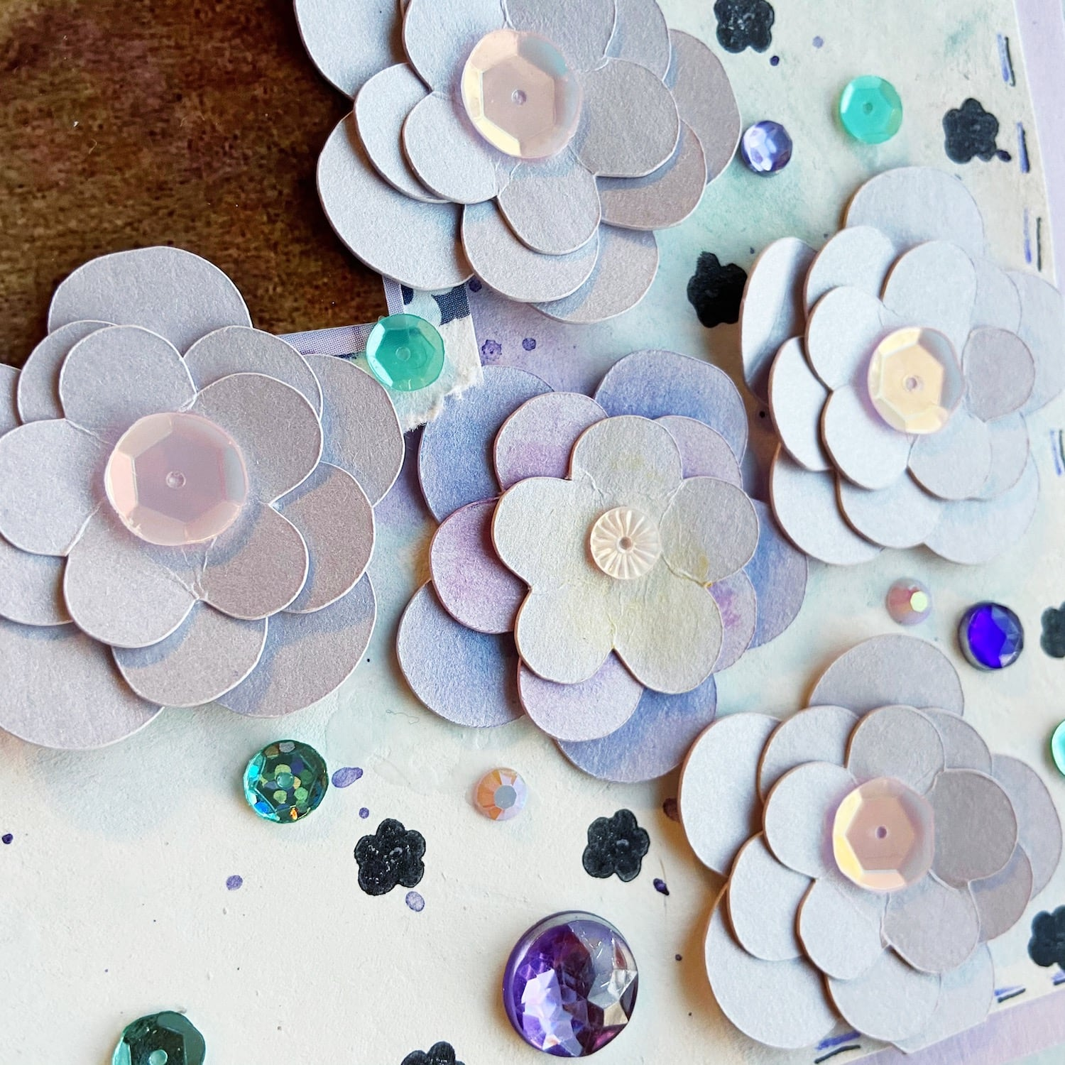 kunzite die cut paper flowers with sequin centers