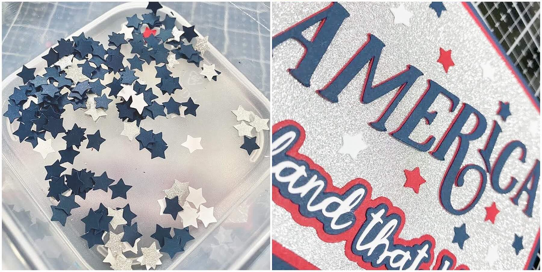 Gluing star embellishments on card