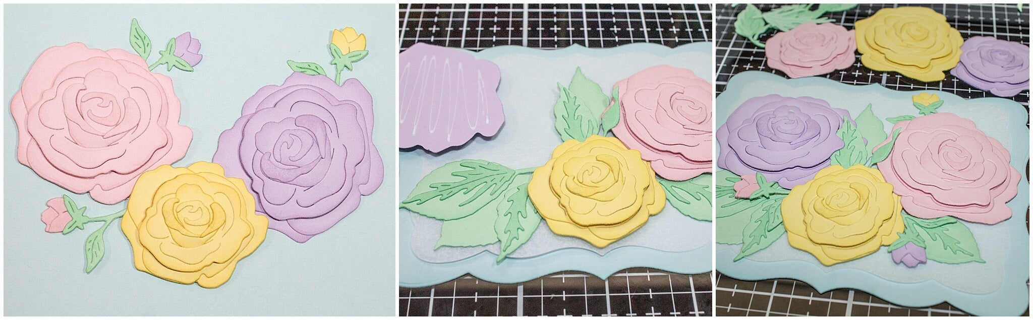 Arranging pastel flowers on card base