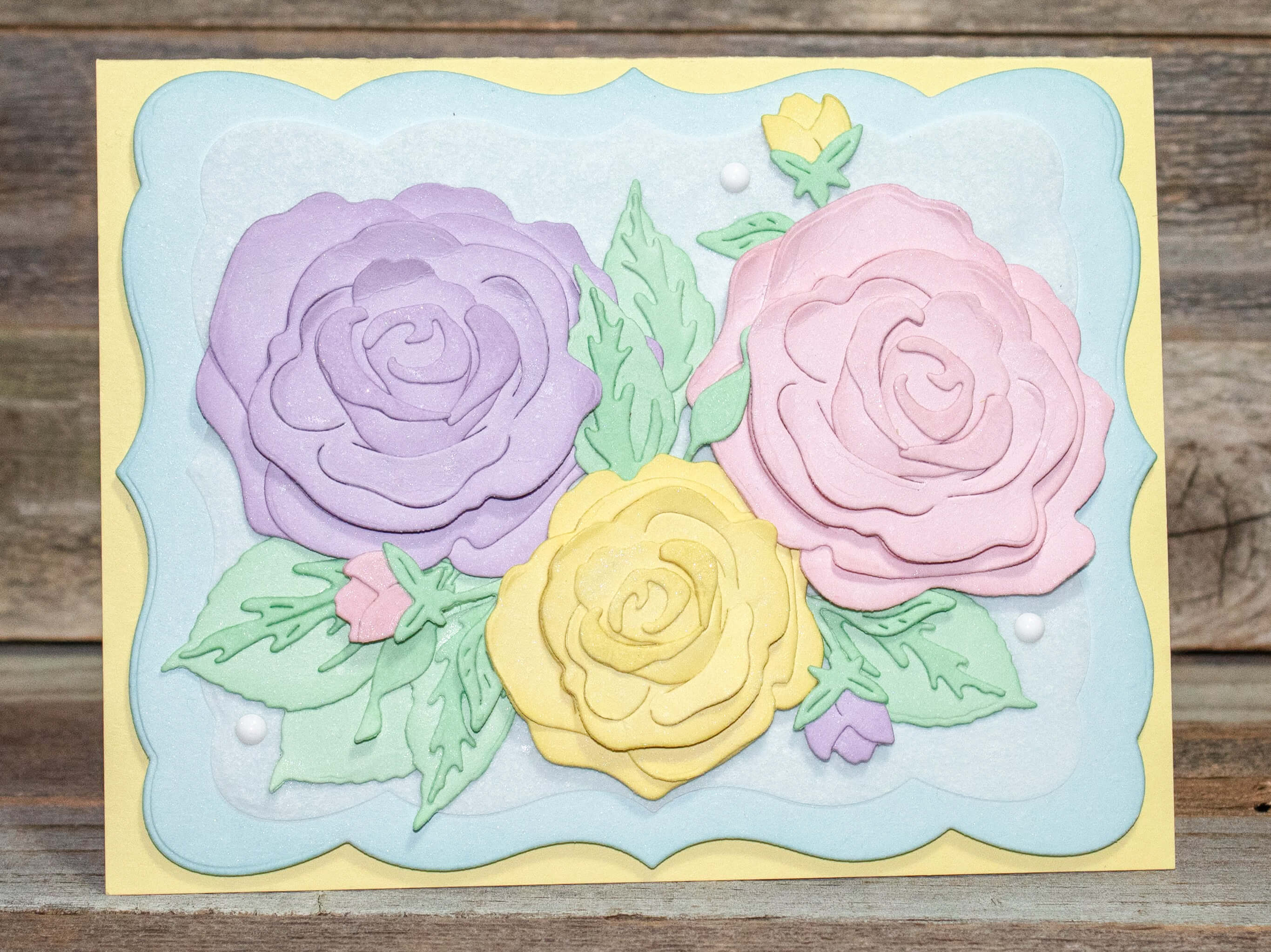 Pastel Layered Rose Greeting Card