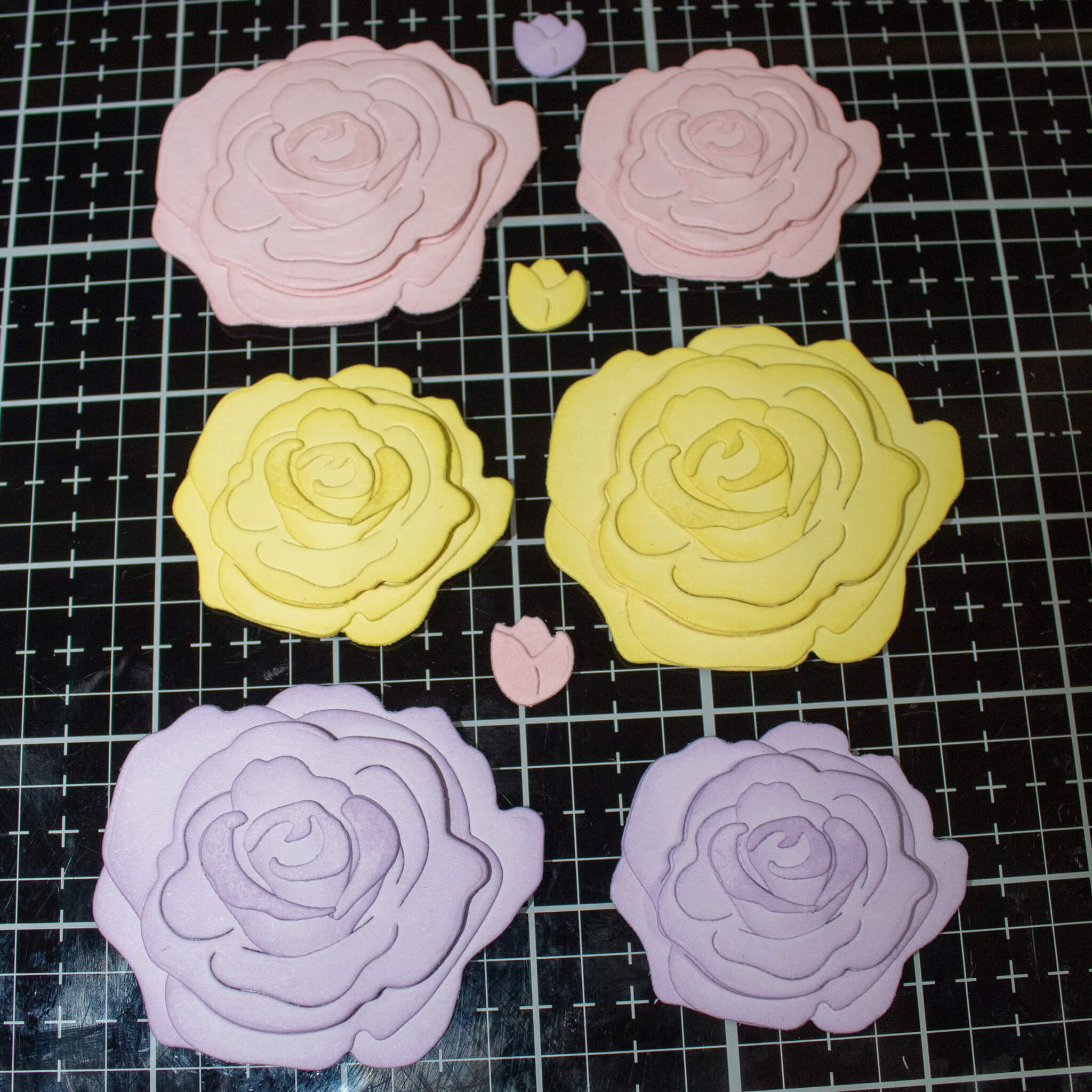Layered Pastel Paper Rose Assembly
