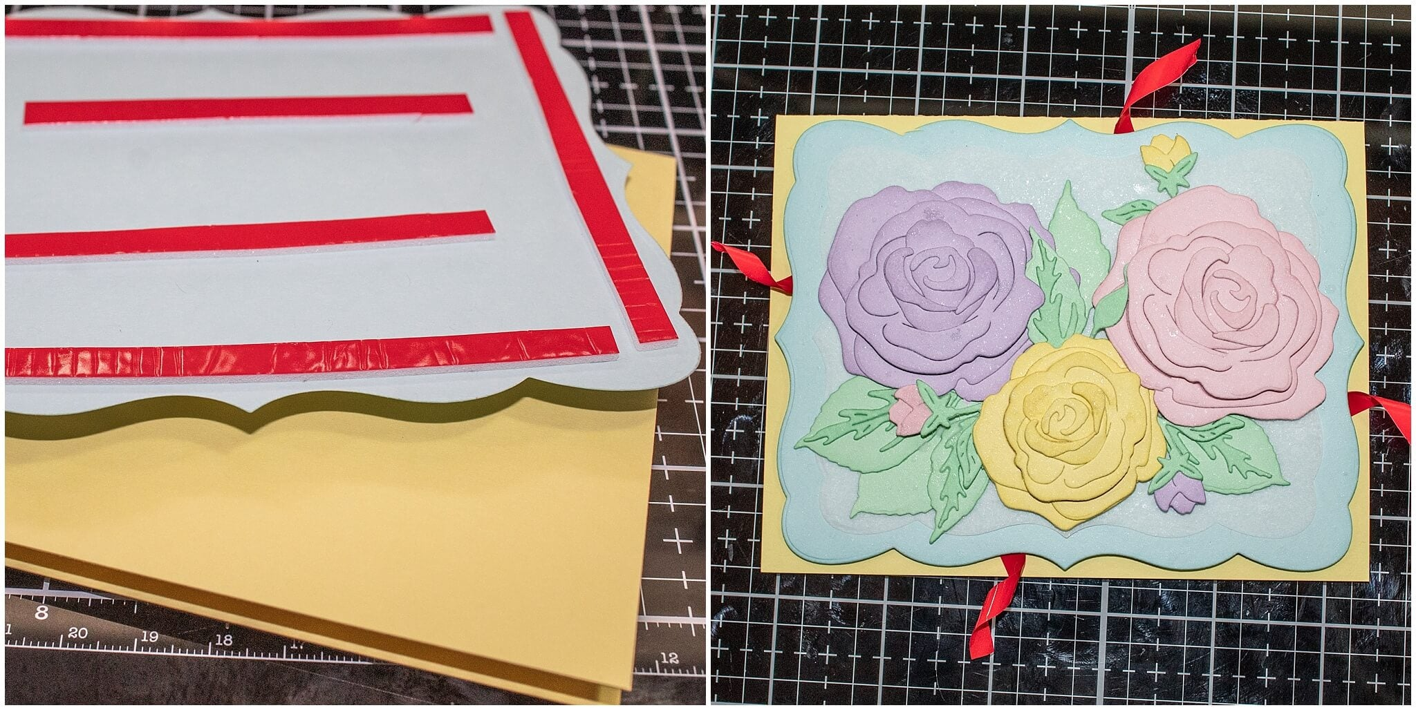 Attaching card layers using foam tape