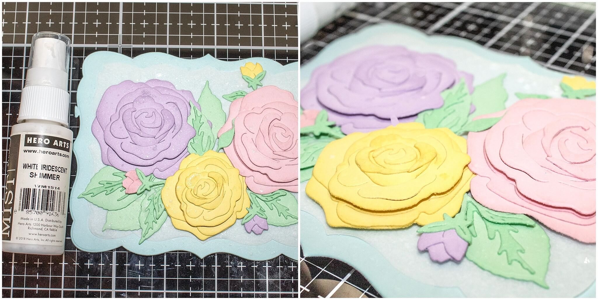 Adding shimmer spray to pastel layered rose card