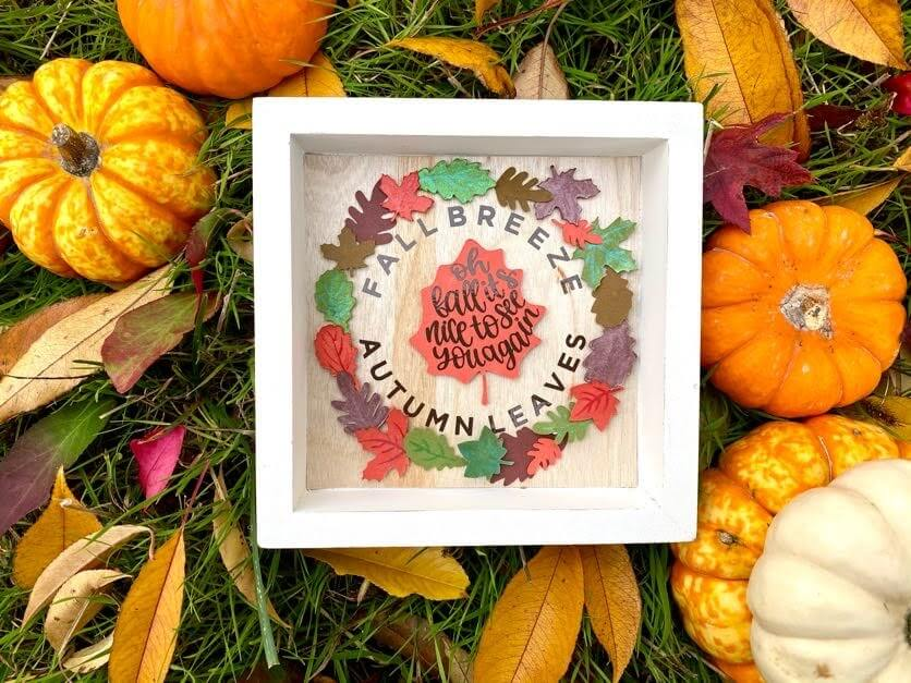 Finished autumn leaves frame