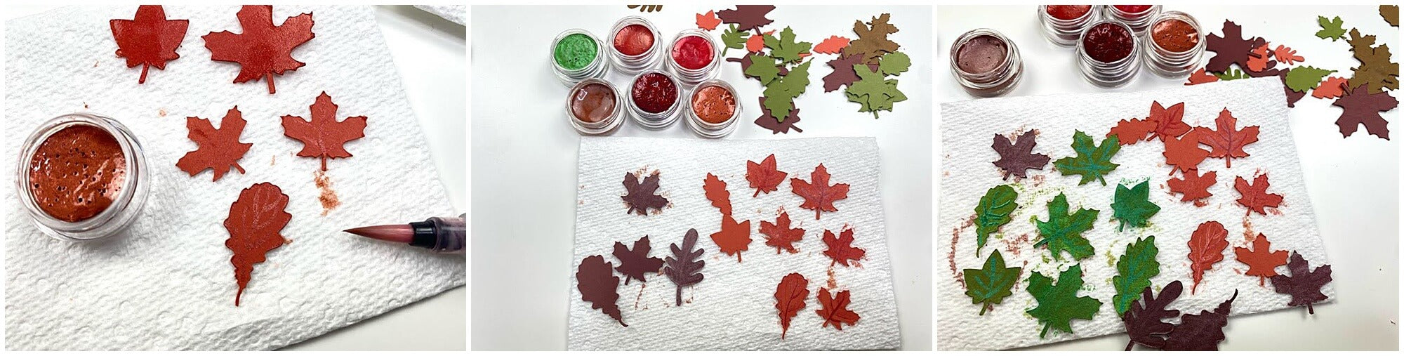 Adding shimmer paint to leaves