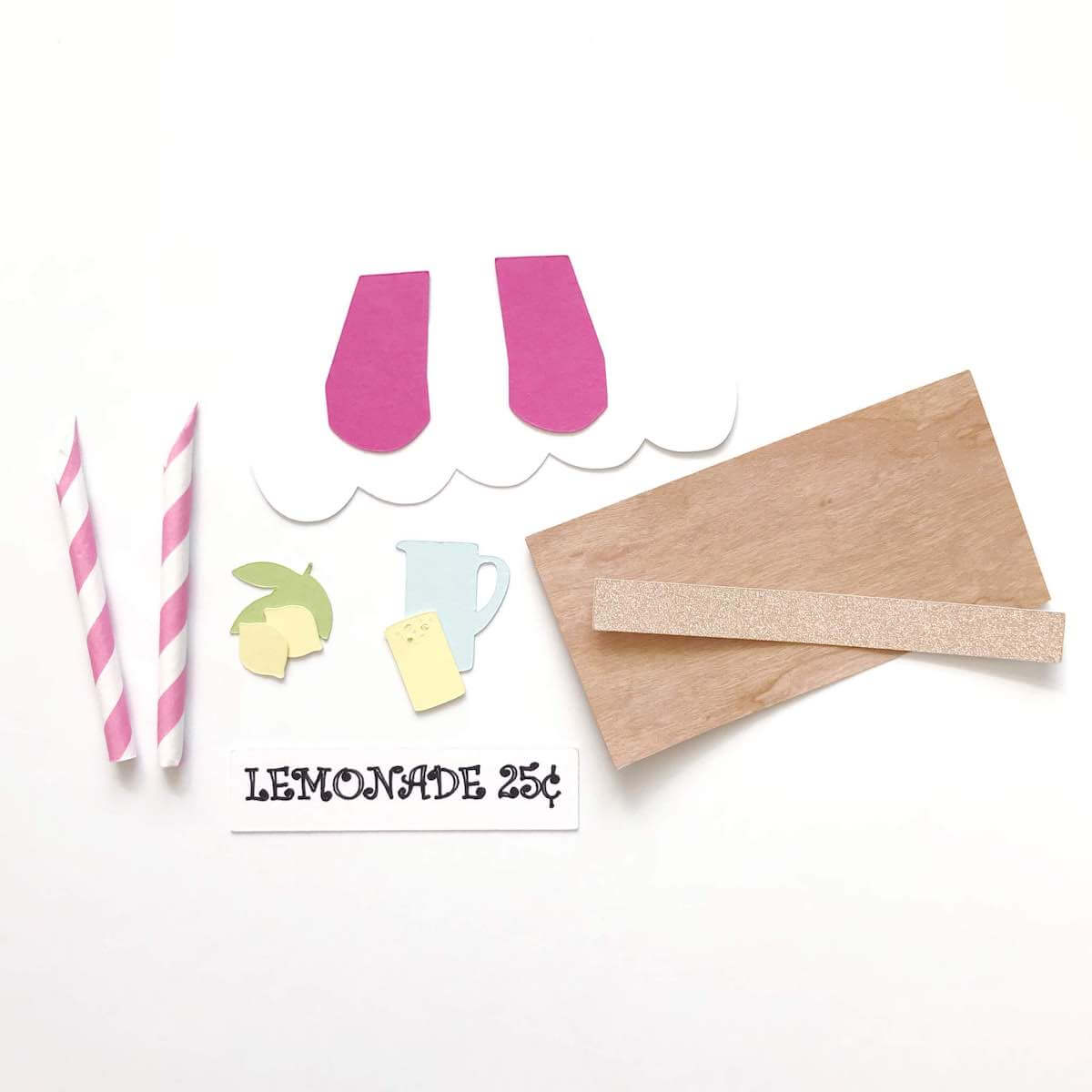 Cardstock Paper Wood Veneer Lemonade Stand Die Cut Pieces