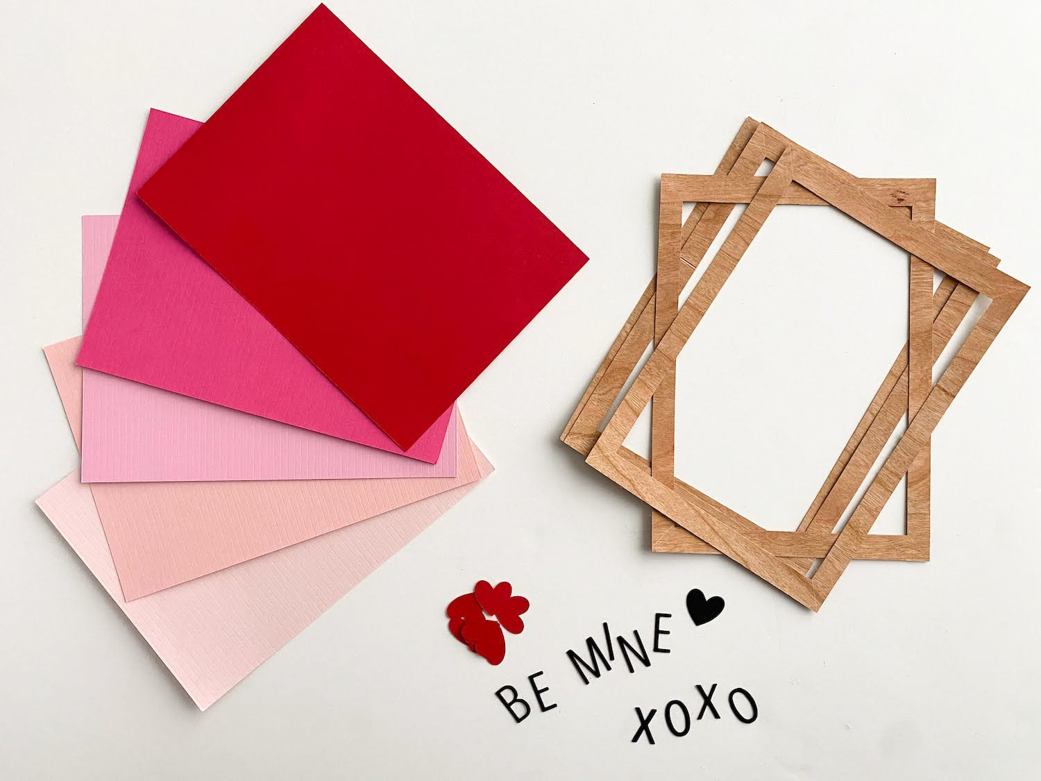 die cut pieces for letterboard valentine cards