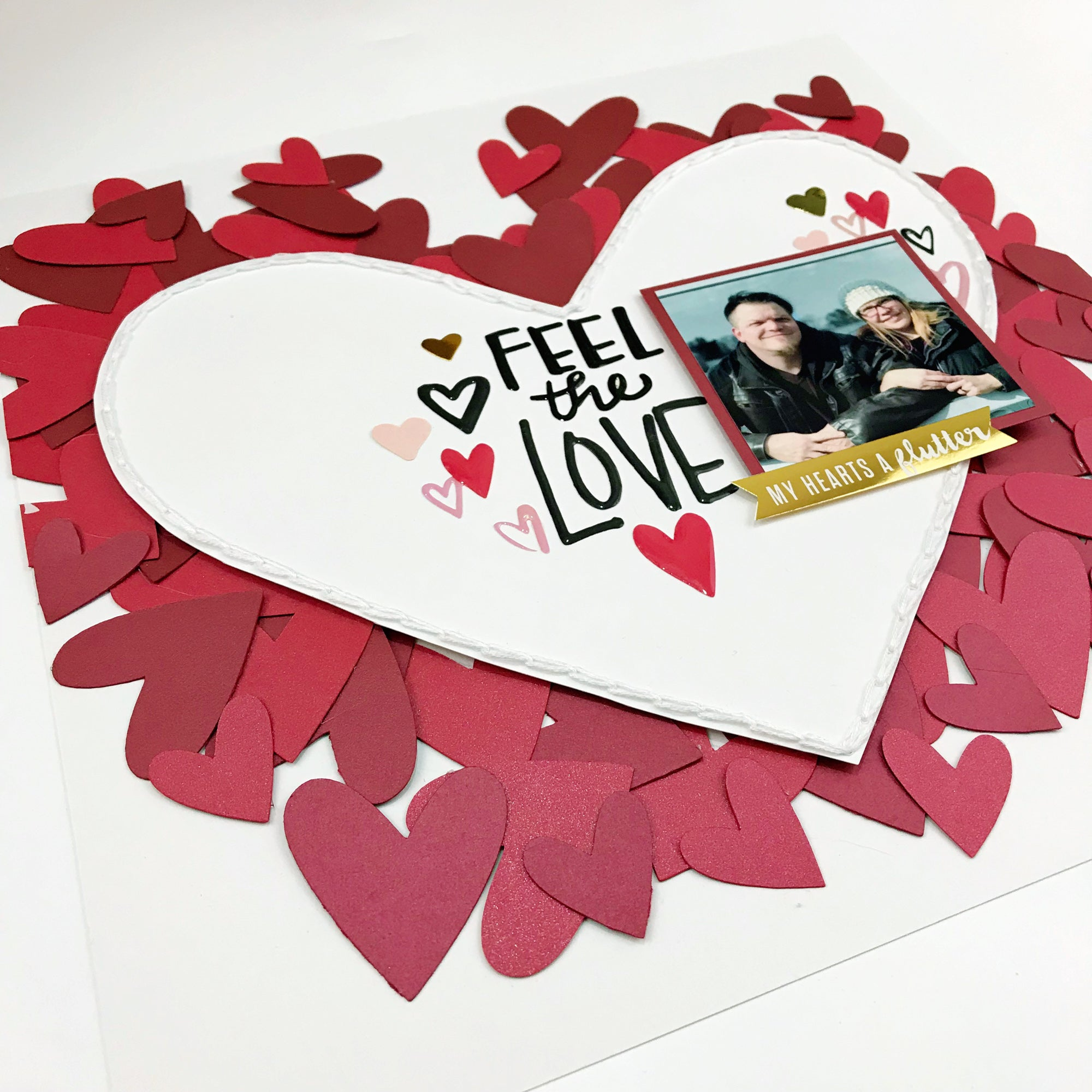 Hearts Aflutter Valentine's Day Scrapbook Layout