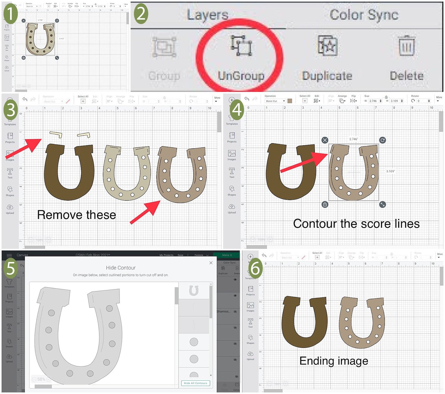 Editing Cricut file for horseshoe on St. Patrick's Day Luck Card