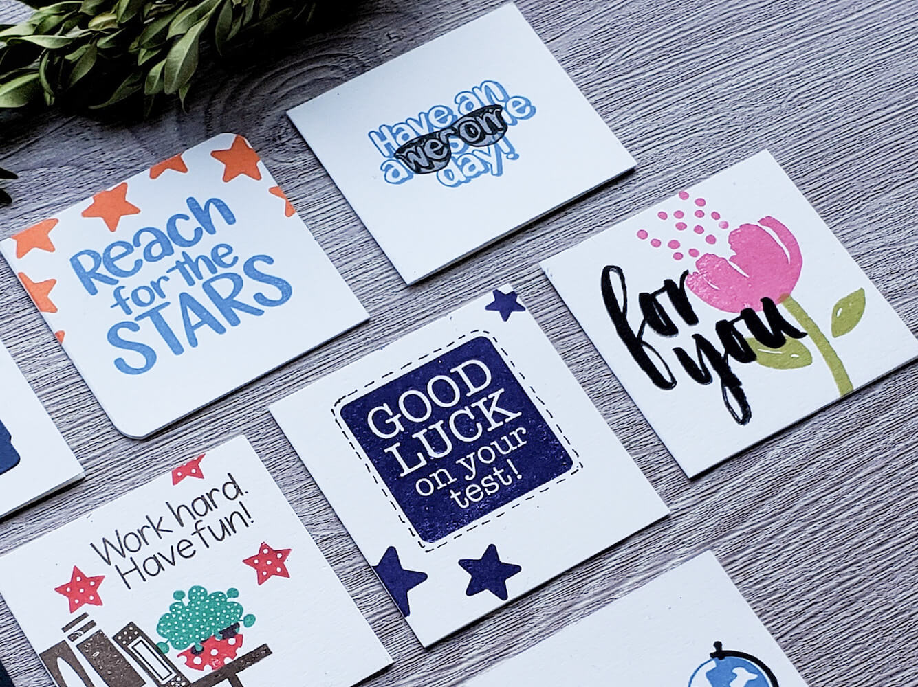 Fun and Encouraging Cardstock Paper Lunchbox Notes Simple Stamping