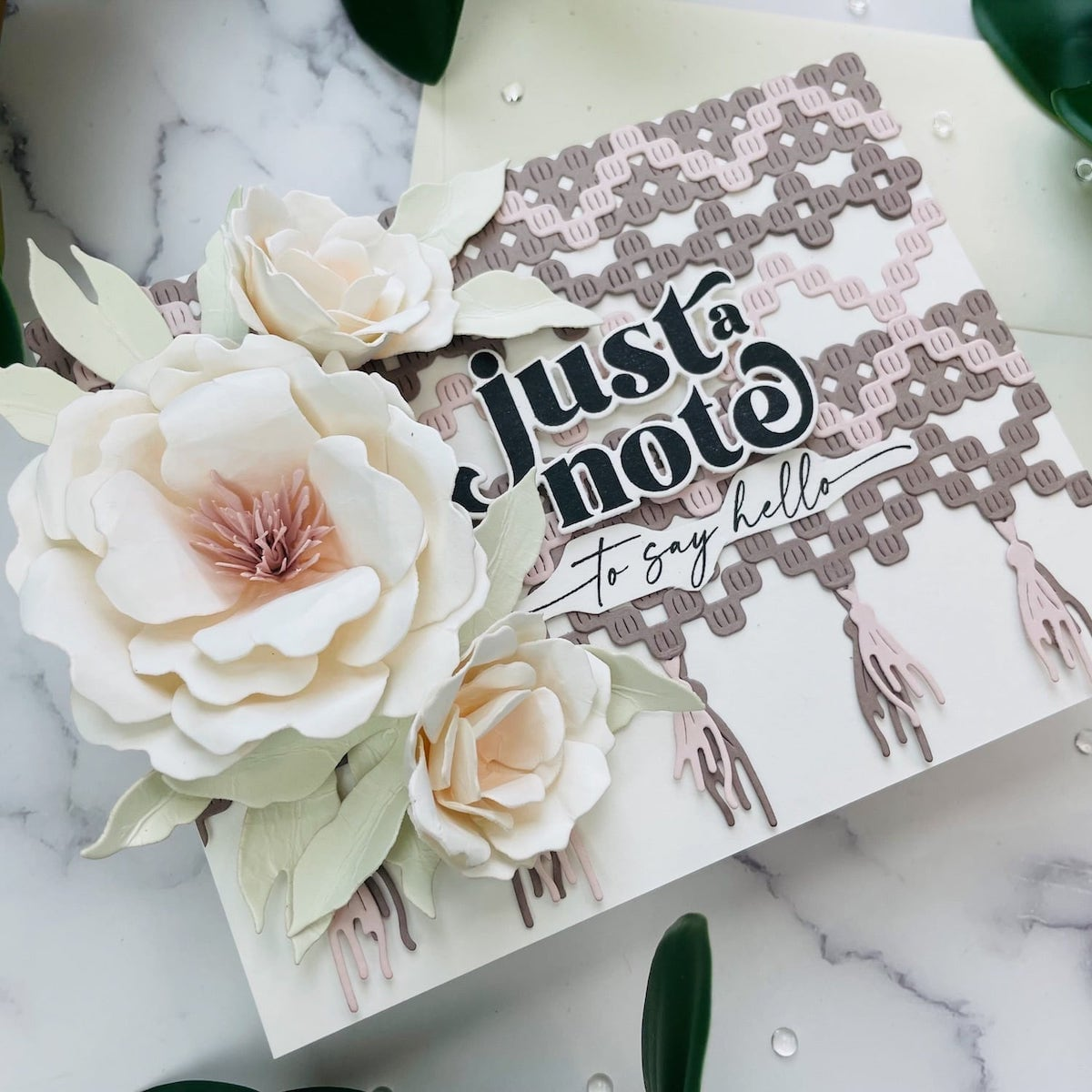 finished flower and macrame card