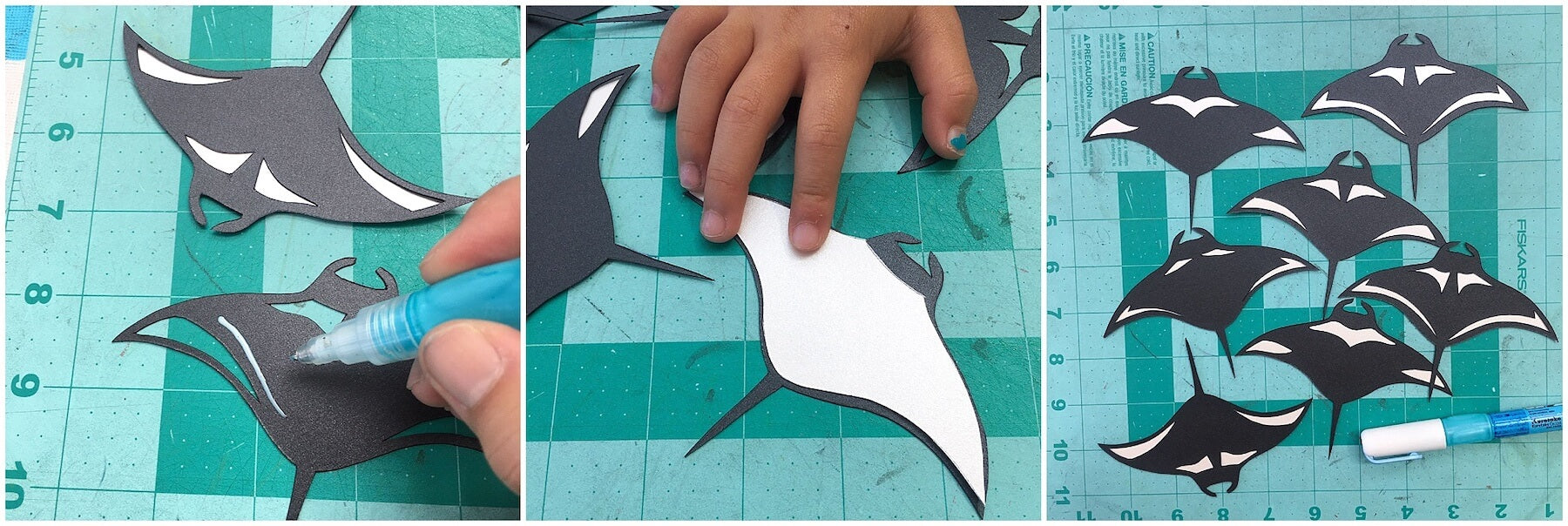 Gluing manta ray pieces together