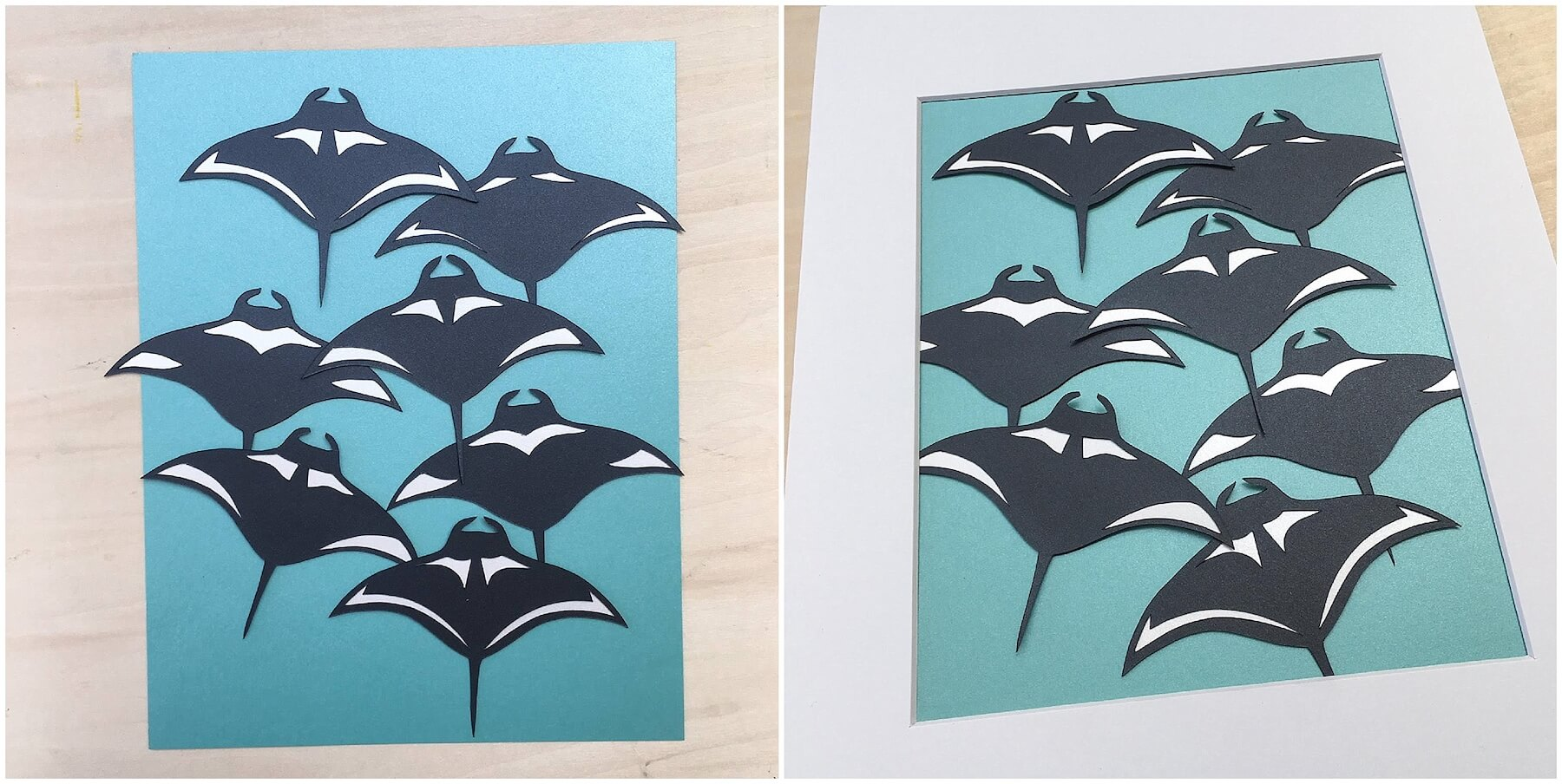 Arranging Paper Manta Rays on Mat