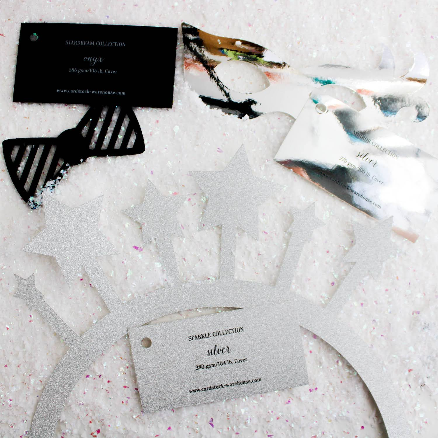 die cut pieces with paper swatches for DIY NYE photo booth