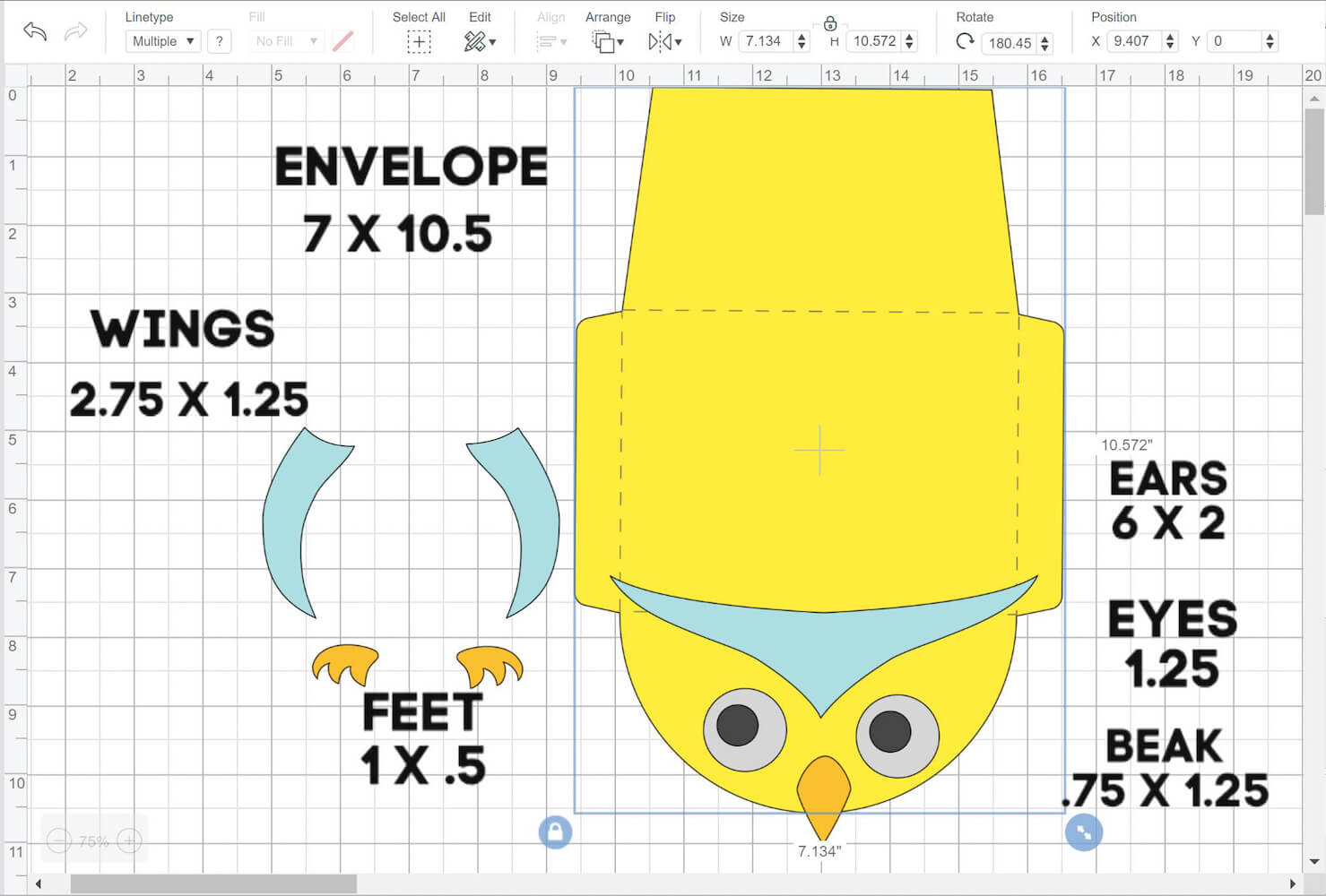 Paper Owl Envelope Cricut Design Space Layout