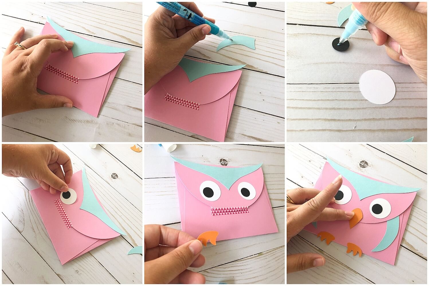 Paper Owl Envelope Gluing Pieces
