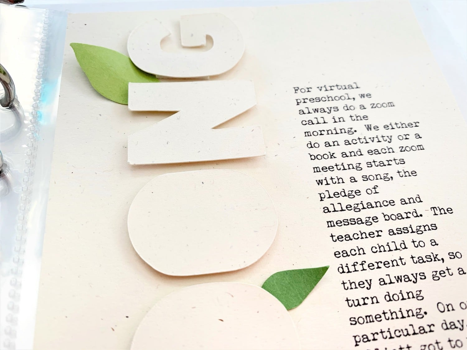 die cut letters added to scrapbook layout