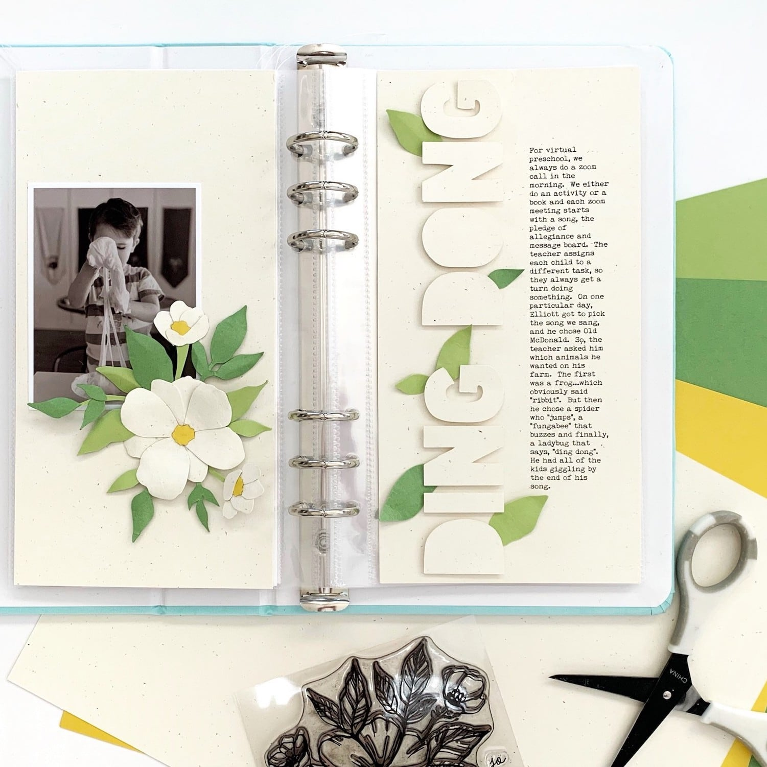 full scrapbook layout using homemade paper piecing embellishments