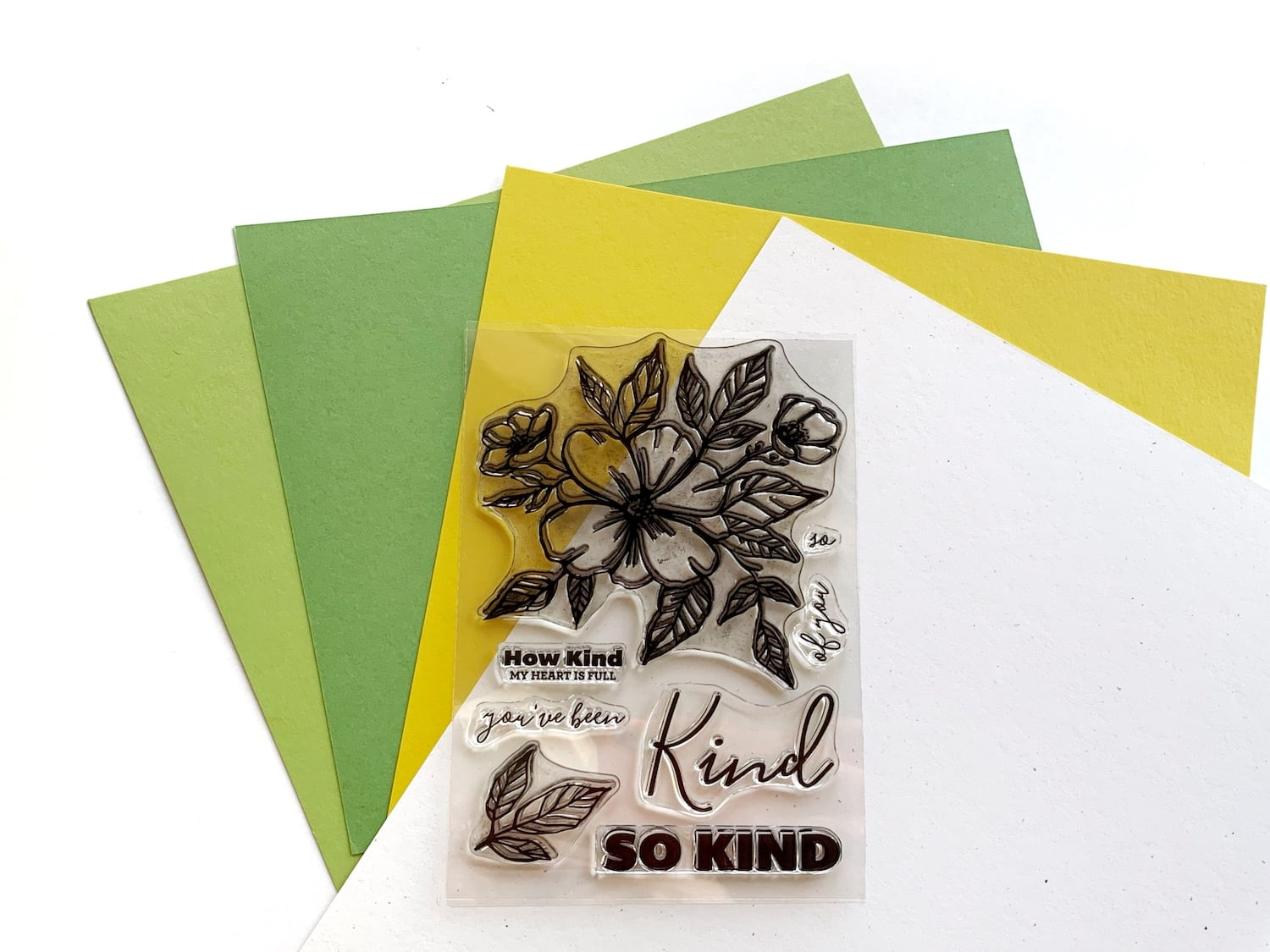 Stamps with green and yellow papers