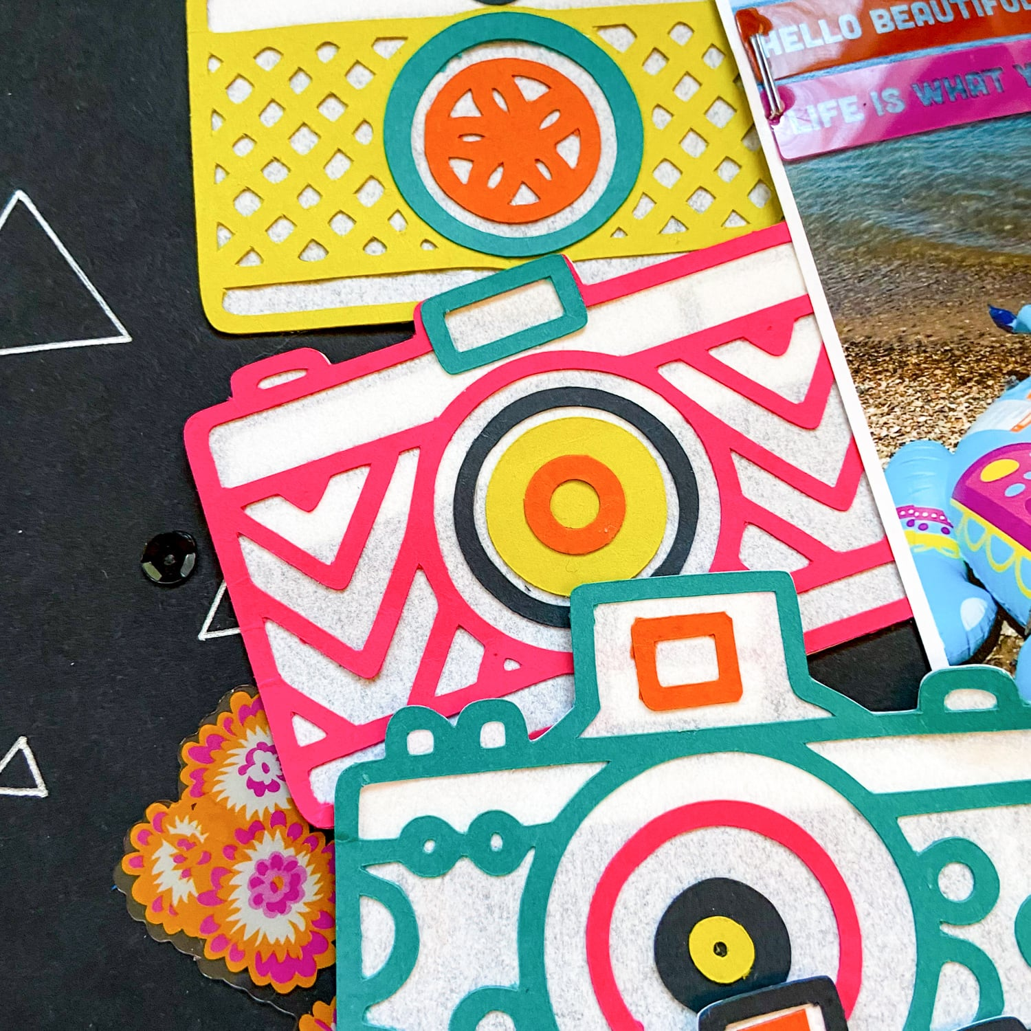 close up of paper cameras and embellishments