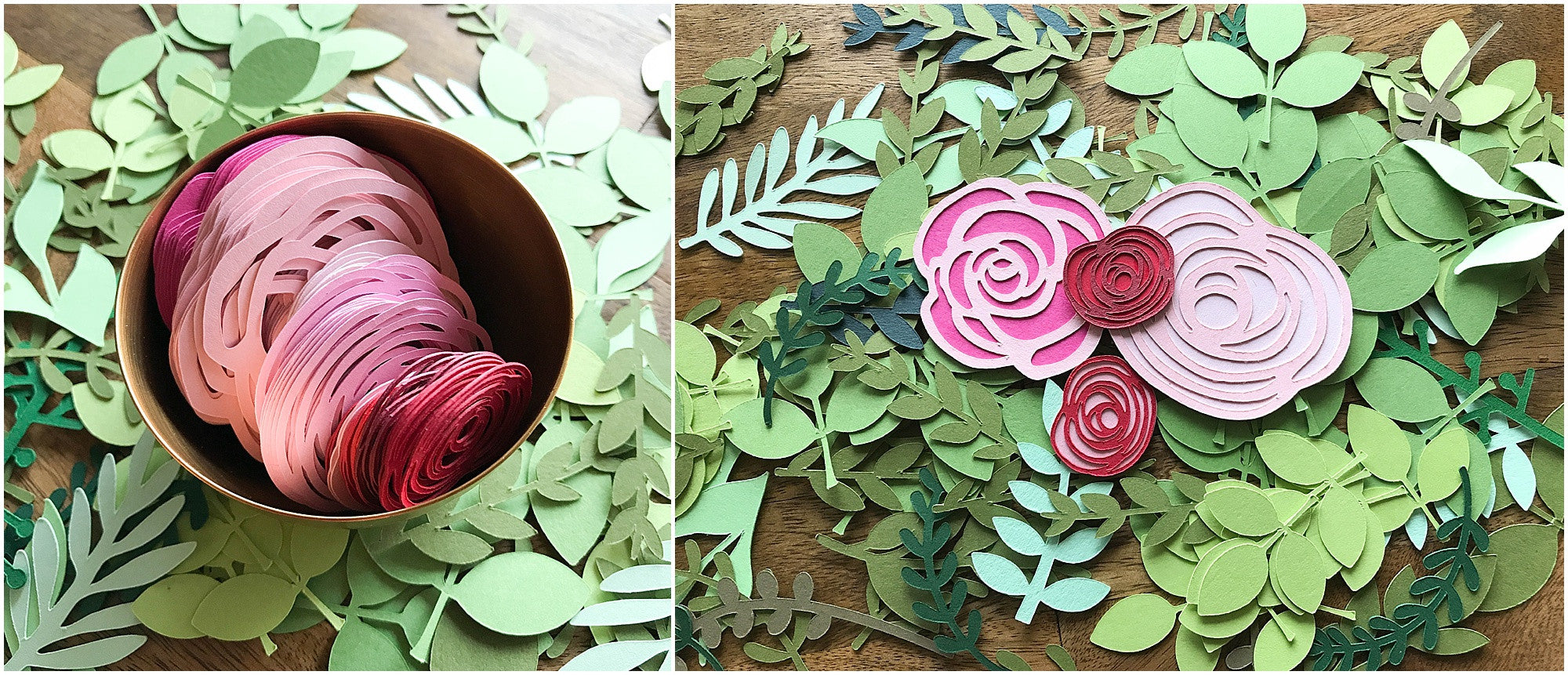 die cut greenery and flower pieces from cardstock warehouse paper