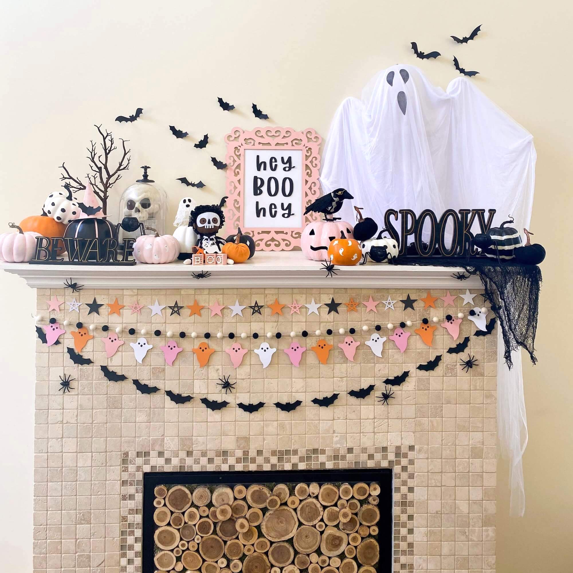 Pink Halloween Banners and Mantle