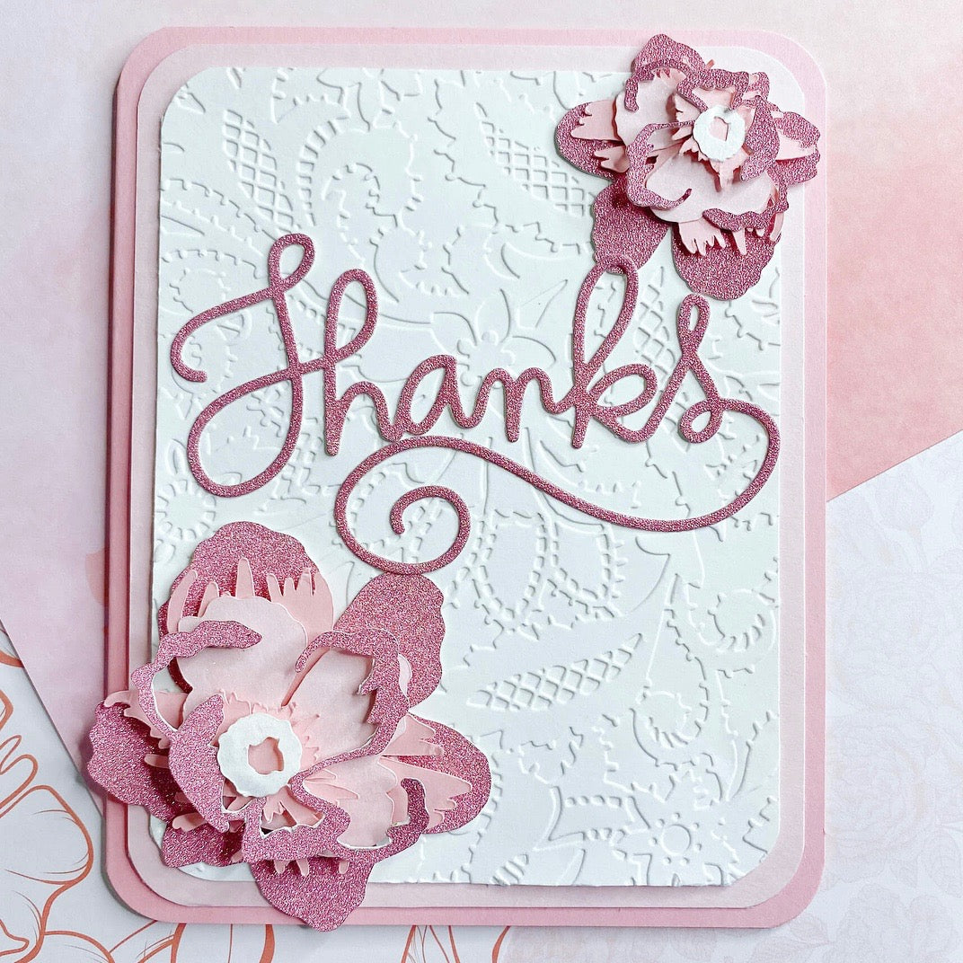 Pink Sapphire Sparkle Thank You Floral Card