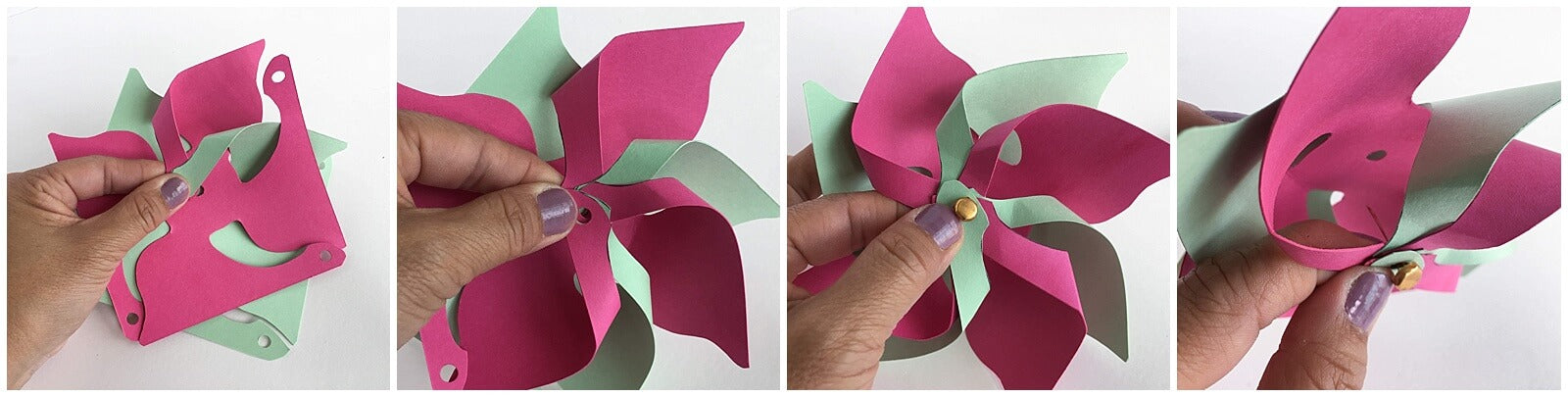 Decorative Cardstock Paper 3D Pinwheels Brad Assembly