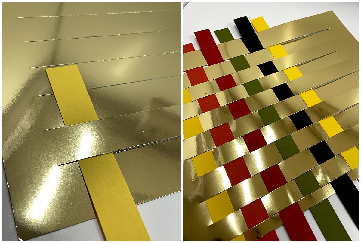 weaving colored strips into gold mirror paper